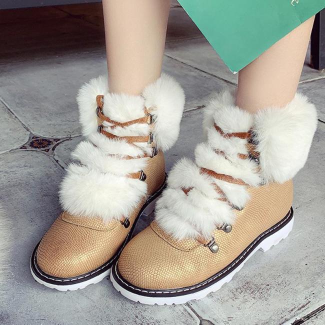 Women Fashion Fur Warm Boots Casual Shoes
