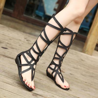 New Fashion Strappy Knee High Open Toe Closure Flat Roman Gladiator Sandals