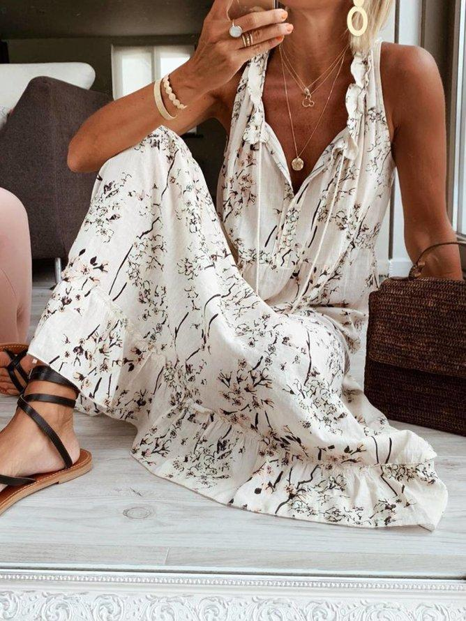 Floral-Print Casual V Neck Sleeveless Dresses