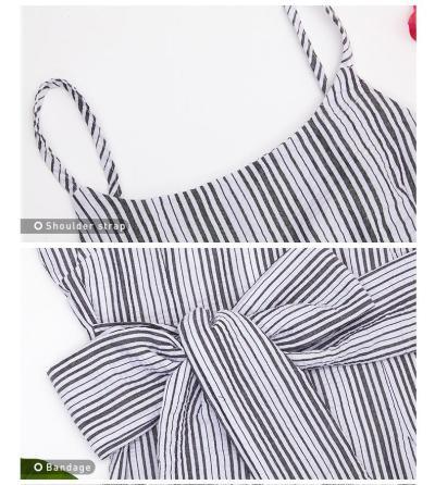 Summer Fashion Women Striped Print Dress Casual Sleeveless Elegant Mini Bodycon Dresses