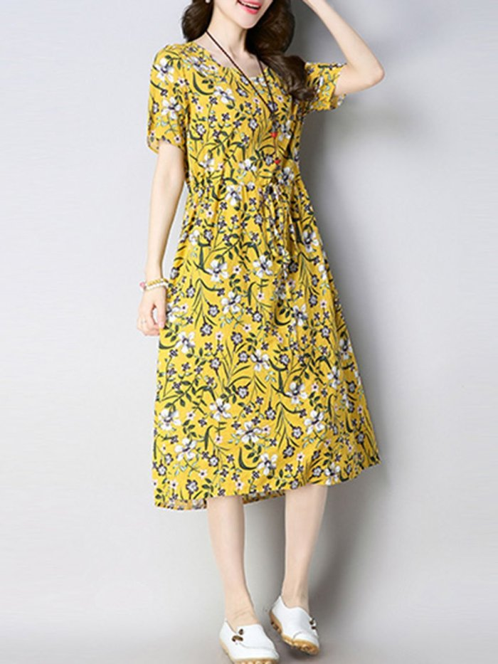 Floral Print Crew Neck Women A-Line Dresses