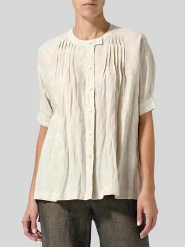 Plus Size Casual Short Sleeve Round Neck Solid Shirts & Tops