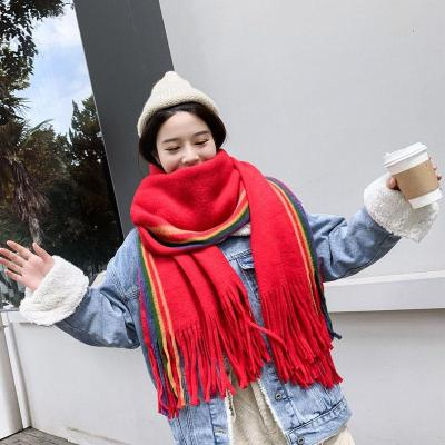 Rainbow Cashmere Scarf Women Winter Warm Shawls