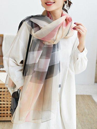 Khaki Checkered/plaid Printed Silk-Blend Scarves