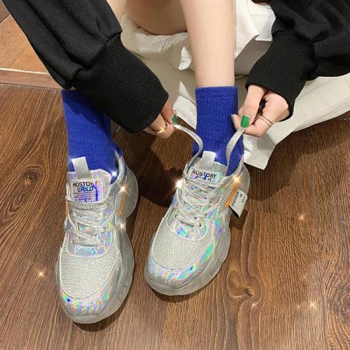 Sportive Contrast Color Transparent Sole Platform Shoes Sneakers