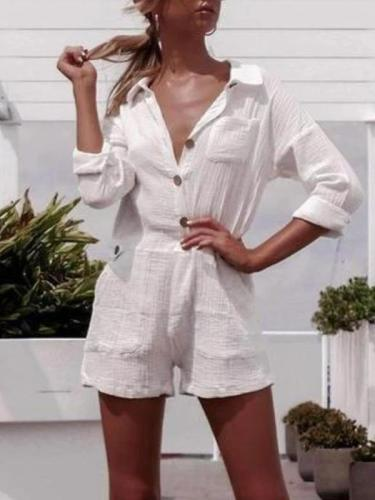 Pocket Button Linen Casual Jumpsuit