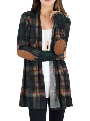 Apricot Casual Spandex Gingham Printed Outerwear