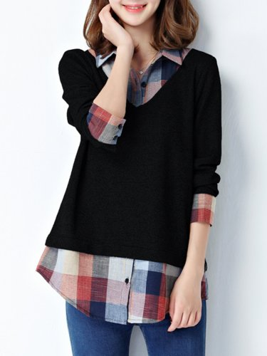 Plus Size One Piece  Checkered/Plaid Polyester Blouse