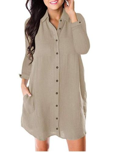 Cotton-Blend Casual Long Sleeve Solid Dresses