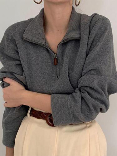 Women's Lapel Zip Knit Shirt