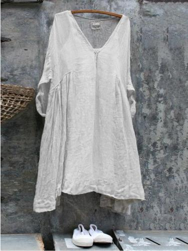 V Neck Cotton-Blend Short Sleeve Dresses