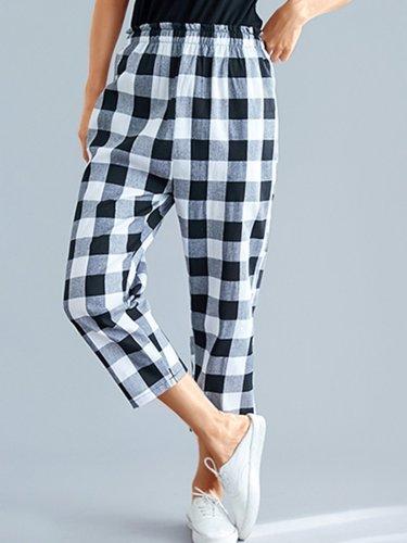 Plus Size Women Vintage Plaid Loose Casual Pants
