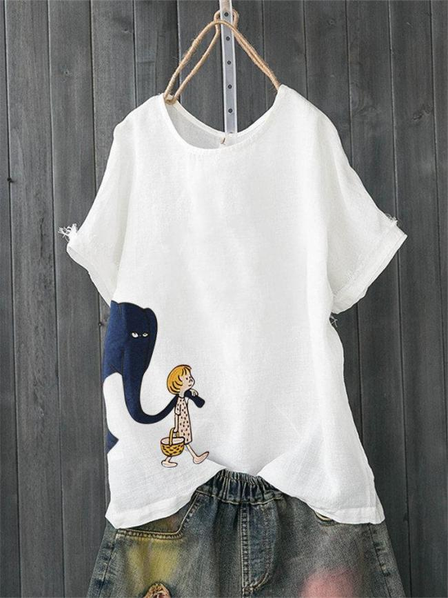 Floral Short Sleeve Round Neck Shirts & Tops