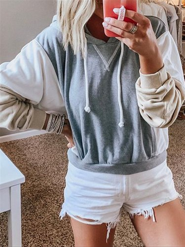 Blue Casual Autumn Cotton Hoodie Top