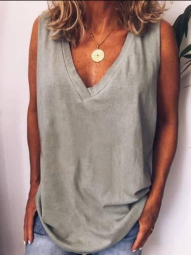 Gray V Neck Casual Cotton-Blend Plain Shirts & Tops