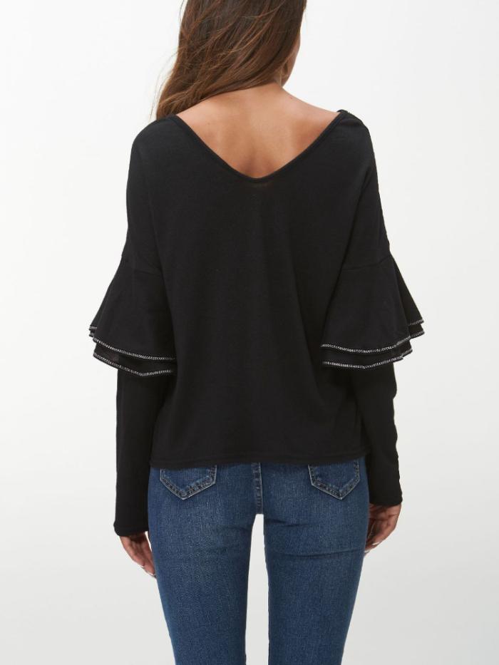 V Neck Appliqued Bell Sleeve Vintage T-Shirts