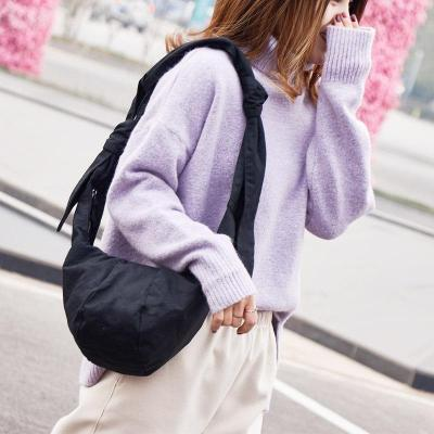 Canvas Shoulder Bag With Knotted Dumpling Bag Messenger Bag