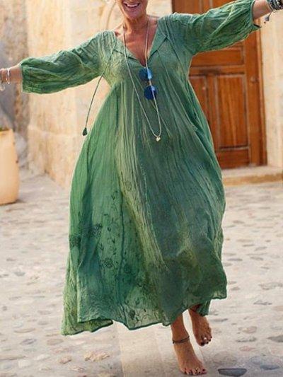 Vintage Printed Big Hem Dress Dresses