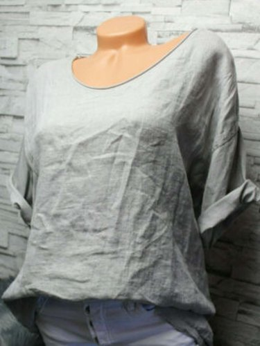 Gray Short Sleeve Plain Cotton Crew Neck Shirts & Tops