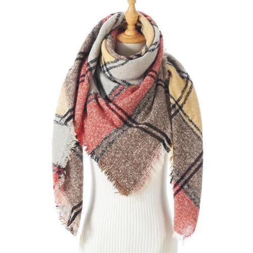 Women Plaid Cashmere Scarves Winter Shawls