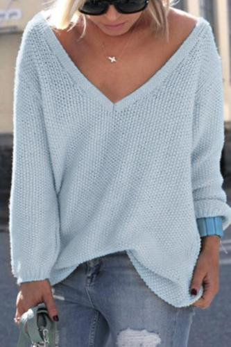 Fashion V-Neck Solid Color Sweater