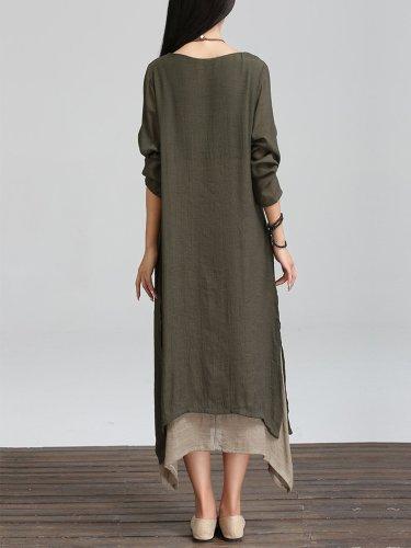 Long Sleeve Linen Cotton Crew Neck Casual Plus Size Dress