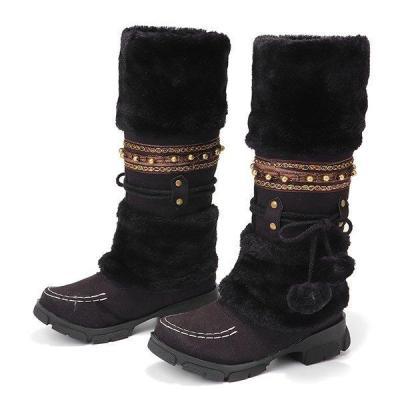 Large Size Rhinestone Slip On Mid Calf Warm Knight Boots