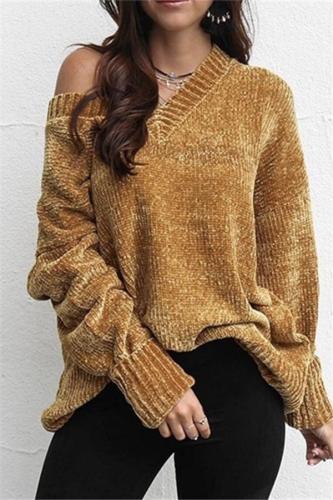 Casual Pure Color Joker V-Neck Chenille Knitting Sweater