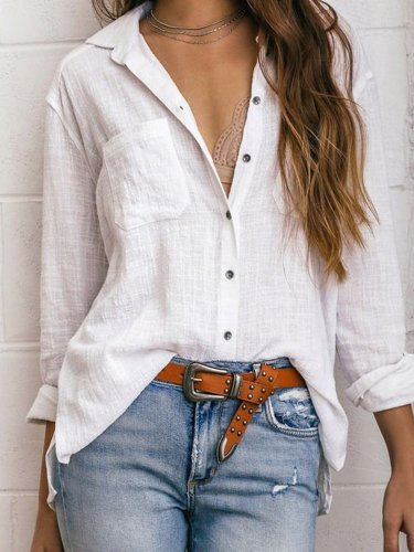 White Shirt Collar Solid Casual Shirts & Tops