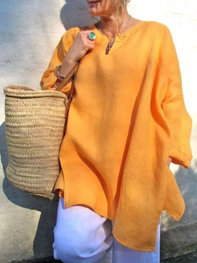 Womens Solid Casual V-Neck Long Sleeve Tops