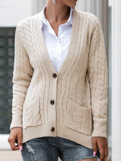 Solid V Neck Button Down Knitted Cardigan