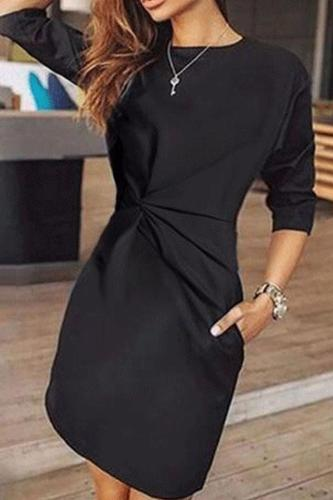 Crew Neck  Cutout Inverted Pleat  Plain Bodycon Dresses