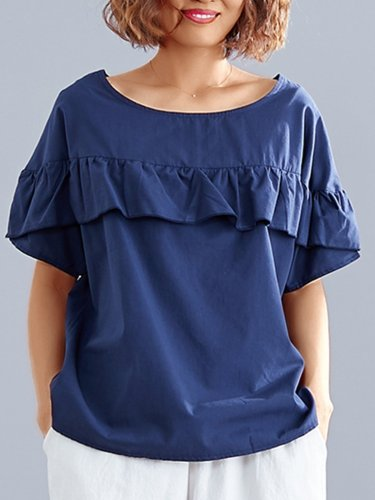Plus Size Women Short Sleeve Round Neck Solid Casual Tops