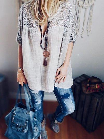 Women Casual Tops Tunic Lace Cutout Blouse Shirt