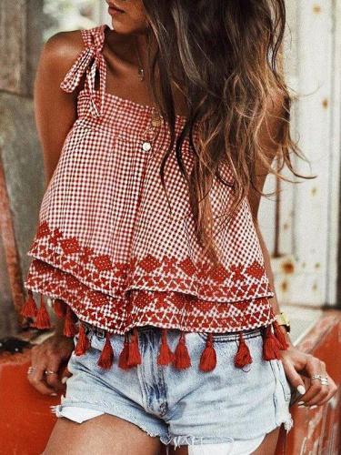 Women's Casual Cotton-Linen Square Neck Checkered Tops