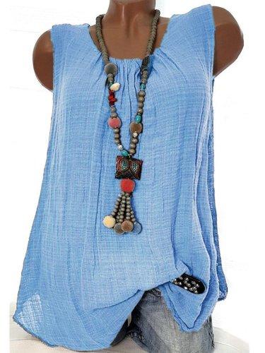 Women  Linen Causal Tops Round Neck Solid  Sleeveless Tanks
