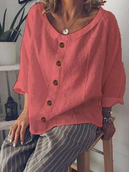 Peter Pan Collar Buttoned Casual Cotton-Blend Shirts & Tops