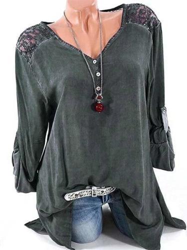 Long Sleeve Solid Basic V neck Buttoned Blouses