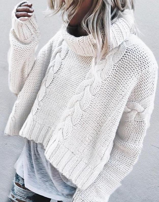 Hot Sale!Women Sweater Turn-down Collar Computer Knitted Casual Pullovers Winter Clothes Women Plus Size Sweater Knitted Sweater