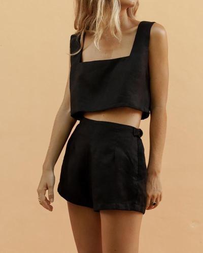 Square Collar Vest Navel Shorts Suit