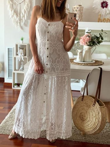 Lace Cutout Maxi Caftan Dress