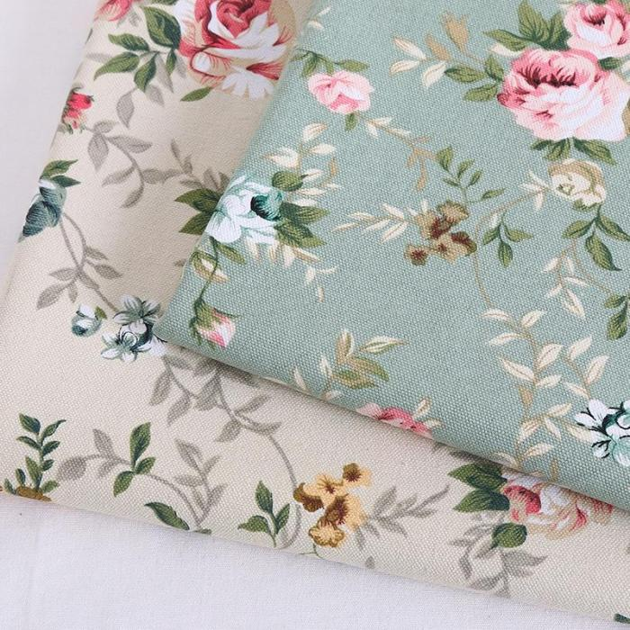 Wide 59  Striped Gunny Coarse Cloth Canvas Upholstery Sofa Fabric Floral Print Linen Tablecloth Pillow Bag Material By the Yard