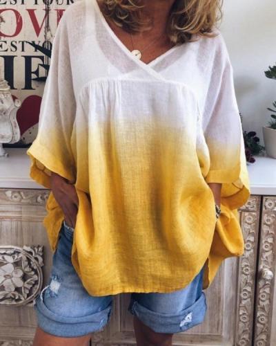 Plus Size Fashion Tie Dye Bat Sleeve V-Neck Tee Casual Print Blouse