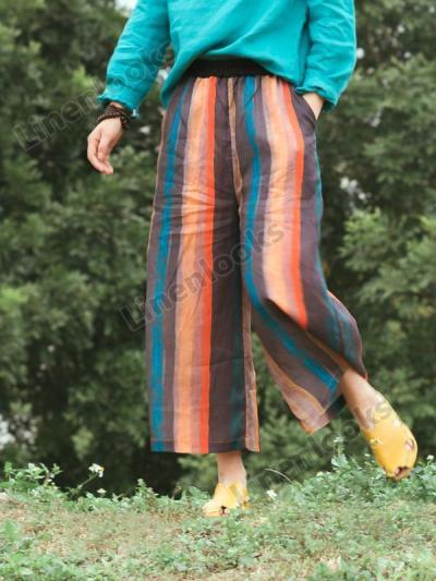 Multi Colors Striped Loose Elastic Waist Linen Pants