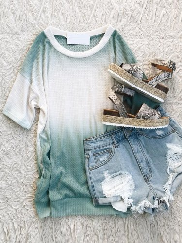 Green Cotton Short Sleeve Casual Tops