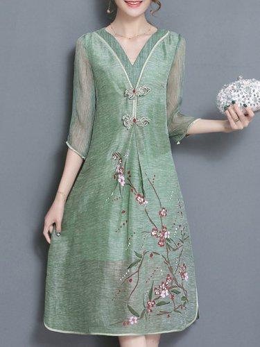 Half Sleeve Satin Vintage Floral-print Plus Size Dress