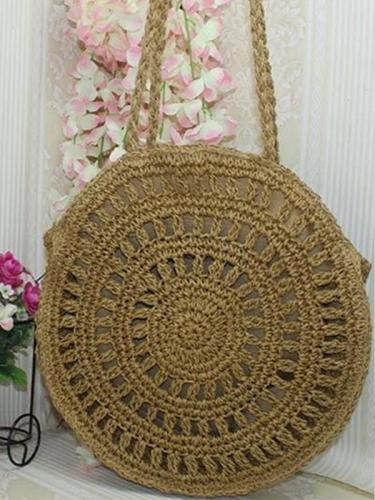 Women's Zipper Cotton Rope Crochet Crossbody Bag Handbag