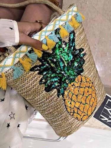 Pineapple Print Tassel Zipper Woven Straw Tote Bag