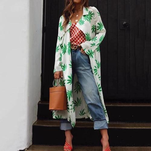 Fashion Fold Collar Collar Print Long Cardigan