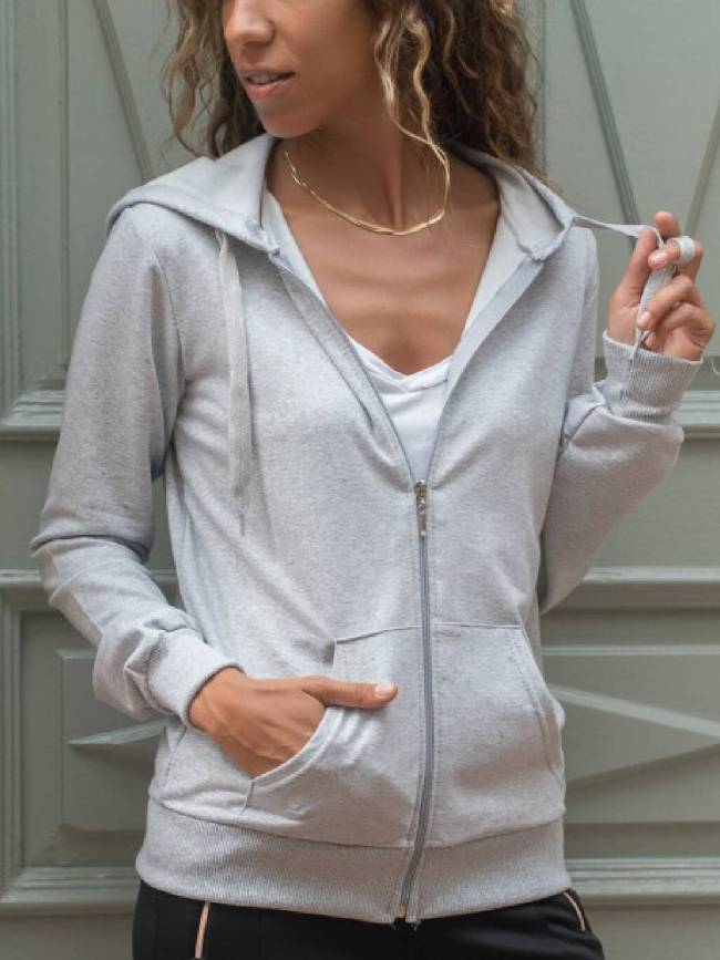 Light Gray Hoodie Long Sleeve Outerwear